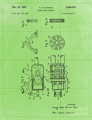 Royalty-Free and Rights-Managed Images - Change Speed Gearbox Patent Year 1953 by Drawspots Illustrations