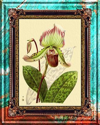 Animal Portraits - Vintage Orchid Antique Design Marble Caribbean-Blue by Baptiste Posters
