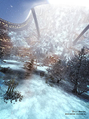 Digital Art - 250m Radius Rotating Space Settlement In December Cam 60 by Bryan Versteeg