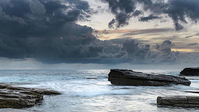 Photograph - Rock Ledge And Seascape by Merrillie Redden