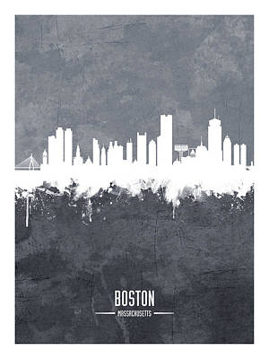 Digital Art - Boston Massachusetts Skyline by Michael Tompsett