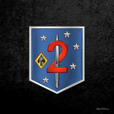Digital Art - 2d Marine Raider Support Battalion  -  2d  M R S B  Patch Over Black Velvet by Serge Averbukh