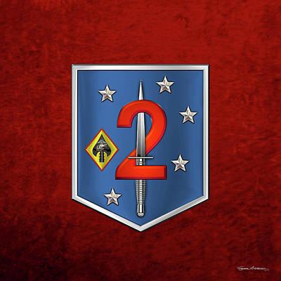 Digital Art - 2d Marine Raider Support Battalion  -  2d  M R S B  Patch Over Red Velvet by Serge Averbukh
