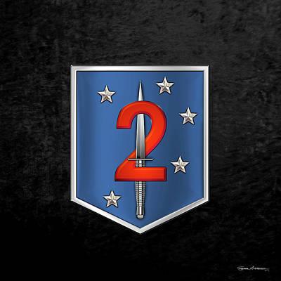 Digital Art - 2nd Marine Raider Battalion - 2nd Marine Special Operations Battalion M S O B  Patch Over Black Velv by Serge Averbukh