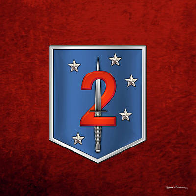 Digital Art - 2nd Marine Raider Battalion - 2nd Marine Special Operations Battalion M S O B  Patch Over Red Velvet by Serge Averbukh