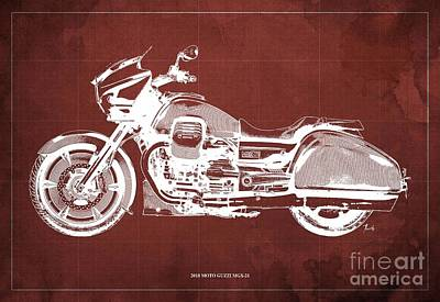 Royalty-Free and Rights-Managed Images - 2018 Moto Guzzi MGX-21,Original Blueprint for man cave  by Drawspots Illustrations