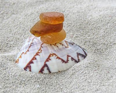 Polaroid Camera - 3 Amber Sea Glass Pieces by Janice Drew