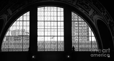 Photograph - 3 Arched Windows San Francisco City Hall Bw  by Chuck Kuhn