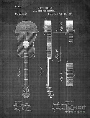 Musicians Drawings Rights Managed Images - ARM REST FOR GUITARS Patent Year 1891 Royalty-Free Image by Drawspots Illustrations