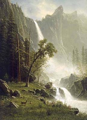 Photograph - Bridal Veil Falls Yosemite by Albert Bierstadt