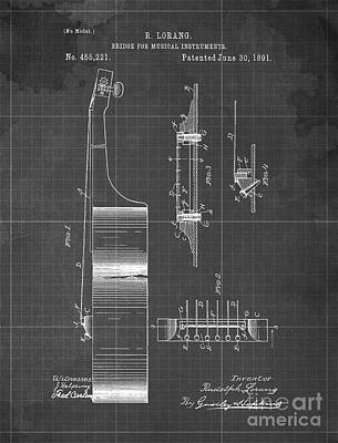 Musicians Drawings - BRIDGE FOR MUSICAL INSTRUMENTS Patent Year 1891 by Drawspots Illustrations