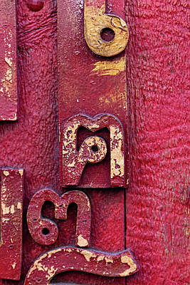 Photograph - Detail Of A Red Door With Abstract Sculpture by Robert Ullmann