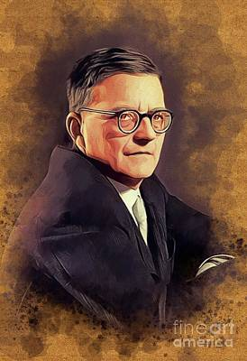 Music Paintings - Dmitri Shostakovich, Famous Composer by Esoterica Art Agency