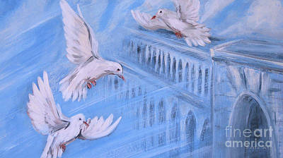 Painting - 3 Doves by Oksana Semenchenko