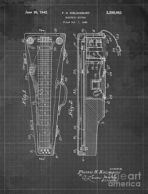 Musicians Drawings - ELECTRIC GUITAR Patent Year 1940 by Drawspots Illustrations