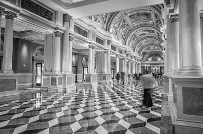 Photograph - Fancy Luxurious Lobby Balcony At Venetian Las Vegas by Alex Grichenko