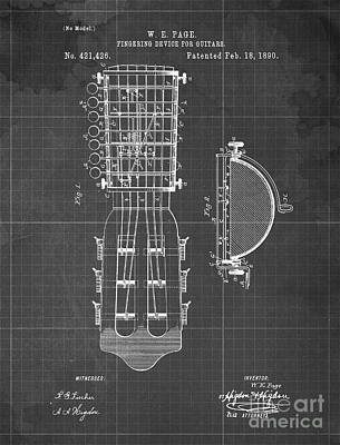 Musicians Drawings Rights Managed Images - FINGERING DEVICE FOR GUITARS Patent Year 1890 Royalty-Free Image by Drawspots Illustrations