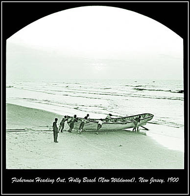 Photograph - Fishermen Heading Out, Holly Beach, New Jersey, 1900 by A Gurmankin