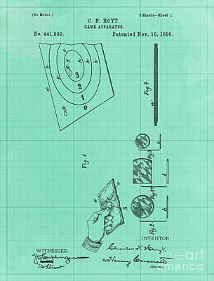 Royalty-Free and Rights-Managed Images - Game Apparatus Vintage Patent Year 1890 Vintage Artwork Pub Decoration by Drawspots Illustrations