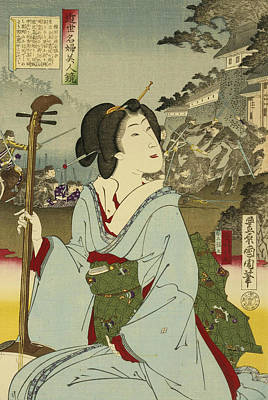 Relief - Geisha by Toyohara Kunichika