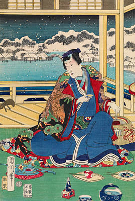 Relief - Genji Viewing Snow From A Balcony by Toyohara Kunichika