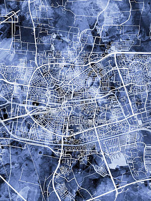 Digital Art - Leeuwarden Netherlands City Map by Michael Tompsett