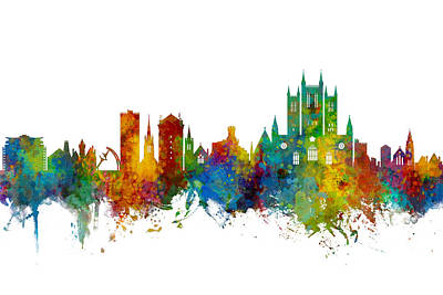 Digital Art - Lincoln England Skyline by Michael Tompsett