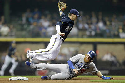 Photograph - Los Angeles Dodgers V Milwaukee Brewers by Mike Mcginnis