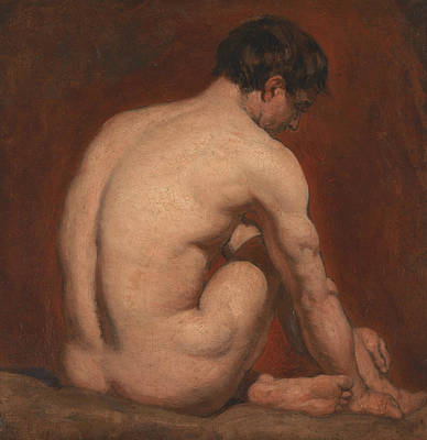 Painting - Male Nude, Kneeling, From The Back by William Etty