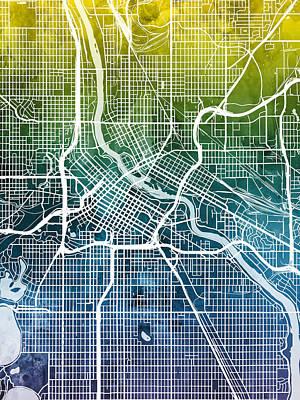 Digital Art - Minneapolis Minnesota City Map by Michael Tompsett