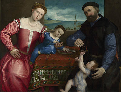Painting - Portrait Of Giovanni Della Volta With His Wife And Children by Lorenzo Lotto