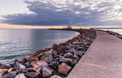 Photograph - Shipwreck Walk - Sunrise At Stockton Breakwall by Merrillie Redden