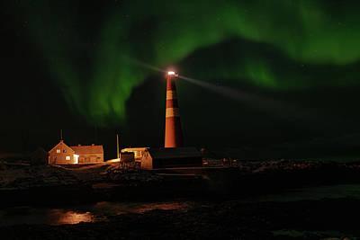 Photograph - Slettnes Lighthouse Under Aurora 3 by Arctic FineArt