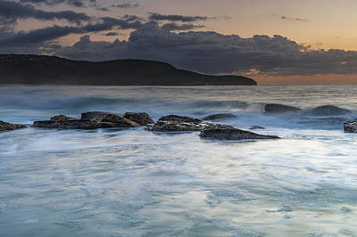 Photograph - Soft And Rocky Sunrise Seascape by Merrillie Redden