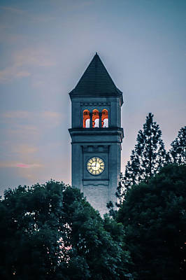 Photograph - Spokane Downtown Clock Tower In Park At Sunset by Alex Grichenko