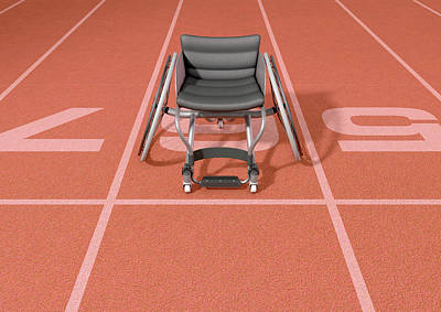 Sports Royalty-Free and Rights-Managed Images - Sports Wheelchair On Athletics Track by Allan Swart