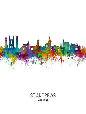 Digital Art - St Andrews Scotland Skyline by Michael Tompsett