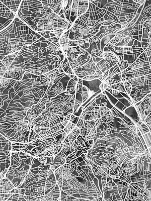 Digital Art - Stuttgart Germany City Map by Michael Tompsett