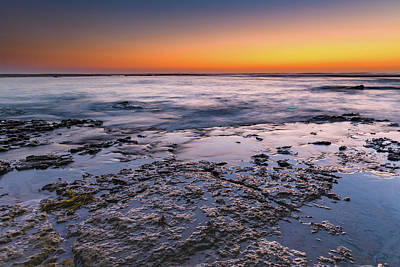 Photograph - Sunrise Seascape And Rock Ledge by Merrillie Redden