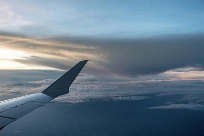Photograph - Sunset View From Airplane Window by Alex Grichenko