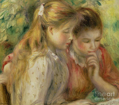 Painting - Two Girls Reading by Pierre Auguste Renoir
