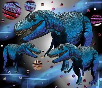 Digital Art - Tyrannosaurus Three Moons by Joan Stratton