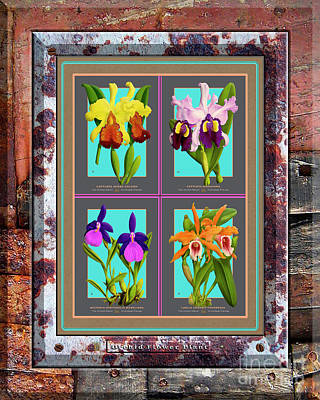 Wild Horse Paintings - Antique Orchids Quatro on Rusted Metal and Weathered Wood Plank by Baptiste Posters
