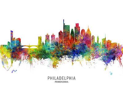Digital Art - Philadelphia Pennsylvania Skyline by Michael Tompsett