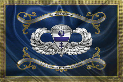 Digital Art - 325th Airborne Infantry Regiment - 325th  A I R  Insignia With Parachutist Badge Over Flag by Serge Averbukh