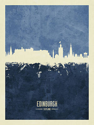Digital Art - Edinburgh Scotland Skyline by Michael Tompsett