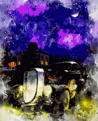 Digital Art - 37 Ford Downtown Halloween Night Blanco Texas With Vivachas by Chas Sinklier