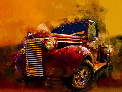 Digital Art - 39 Chevy Pickup Watercolor Acid Sky by Chas Sinklier