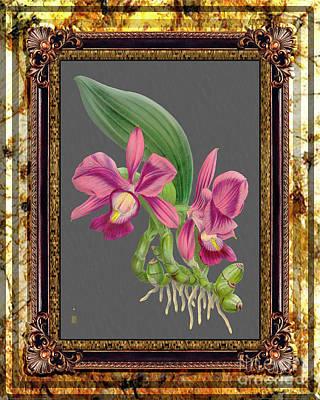 Superhero Ice Pops - Vintage Orchid Antique Design Marble Golden Moon by Baptiste Posters