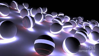 Surrealism Digital Art Rights Managed Images - 3D Glowing Spheres Balls Ultra HD Royalty-Free Image by Hi Res